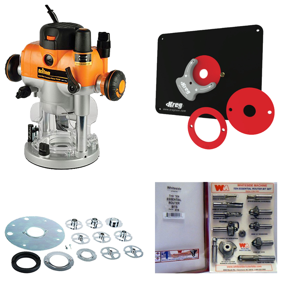 Triton TRA001 3-1/4, Template Guide Kit,Kreg Router Insert Plate & Router Bit Set