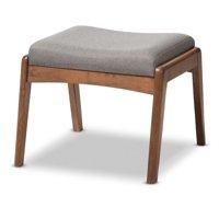 Baxton Studio Roxy Mid-Century Modern Walnut Wood and Upholstery Ottoman