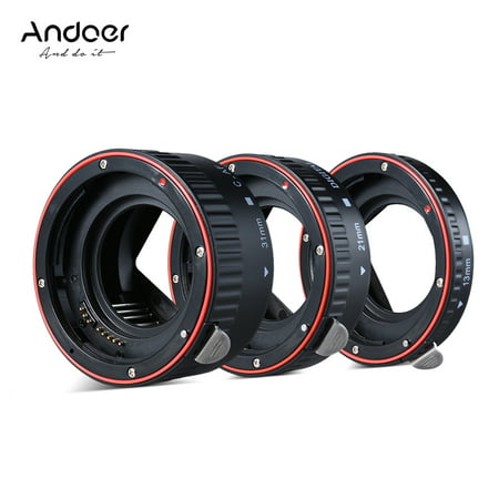 Andoer Macro Extension Tube Set 3-Piece 13mm 21mm 31mm Auto Focus Extension Tube Rings for Camera Body and Lens of 35mm SLR Compatible for Canon all EF and EF-S
