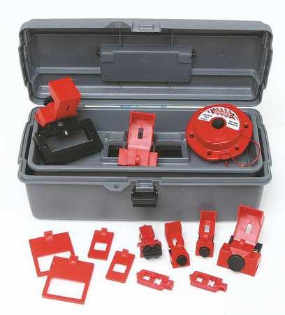 Portable Lockout Kit,Gray,Electrical,18 BRADY 99308