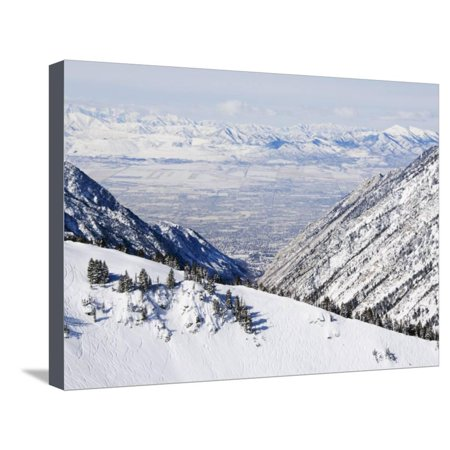 Salt Lake Valley and Fresh Powder Tracks at Alta, Alta Ski Resort, Salt Lake City, Utah, USA Stretched Canvas Print Wall Art By Kober