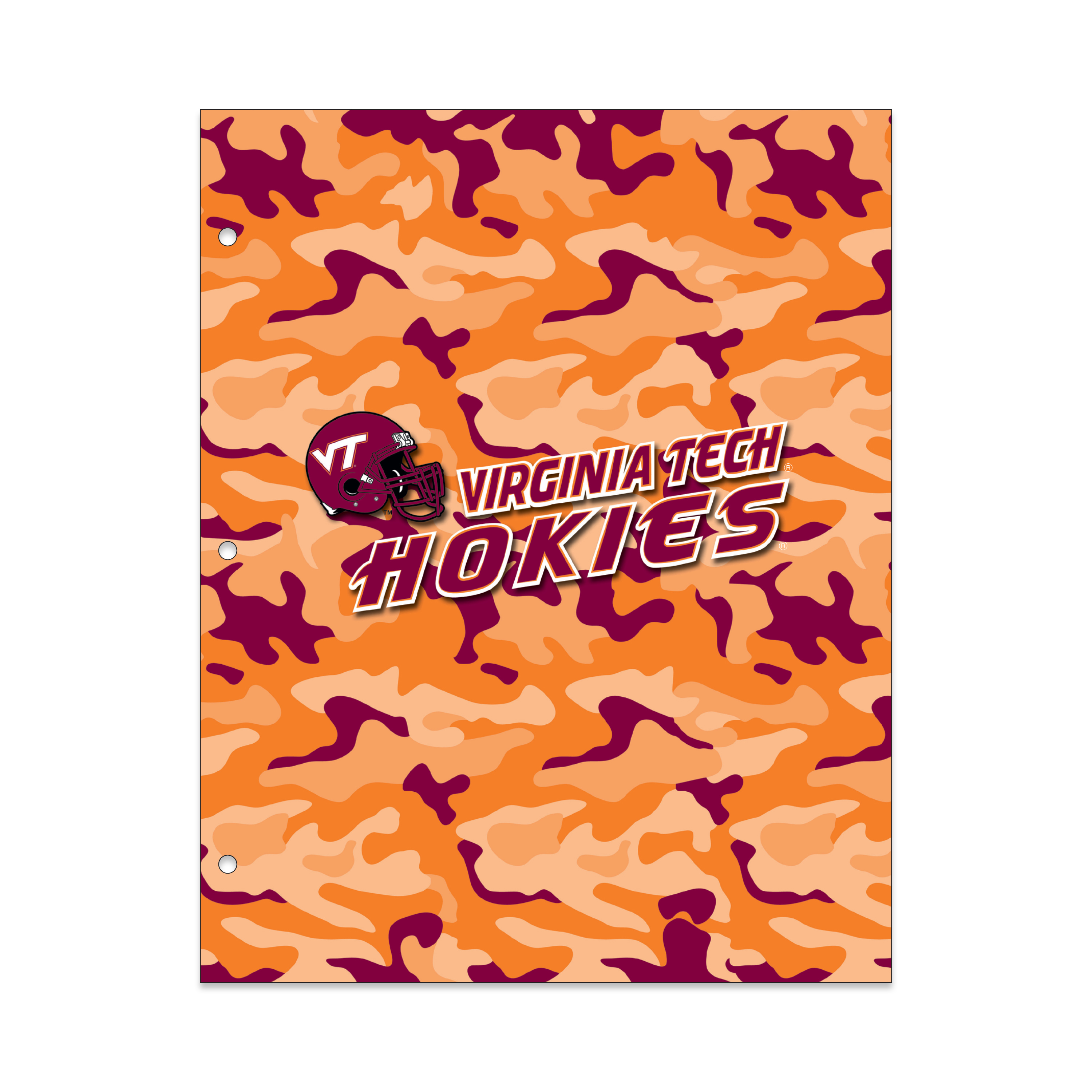 NCAA Virginia Tech Hokies 2 Pocket Portfolio, Three Hole Punched, Fits Letter Size