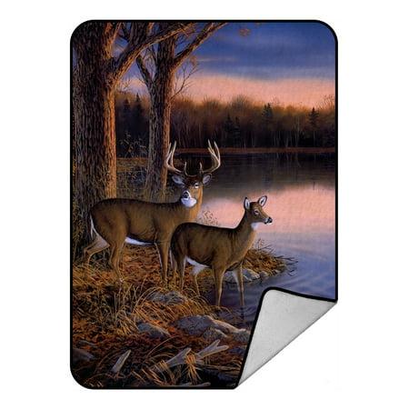 Copper River Fleece - GCKG River Edge Deers Blanket,River Edge Deers Fleece Blanket Crystal Velvet Front and Lambswool Sherpa Fleece Back Throw Blanket 58x80inches