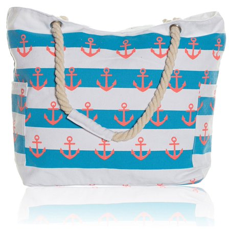 Pier 17 Extra Large Beach Bag Waterproof Tote Striped With Pockets And Zipper For Women