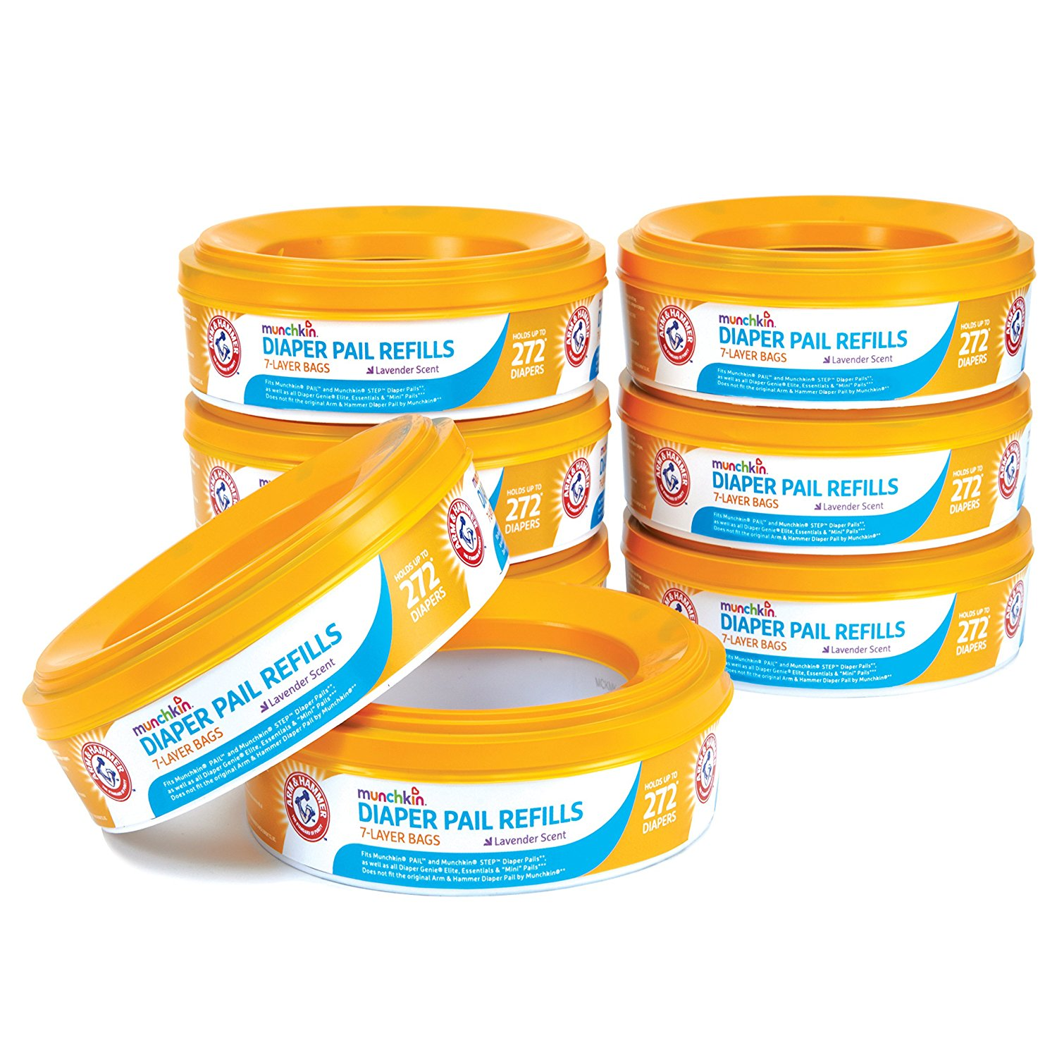 Arm and Hammer Diaper Pail Refill Rings, 2,176 Count, 8 Pack (holds up to 2,176 newborn diapers) By Munchkin From USA