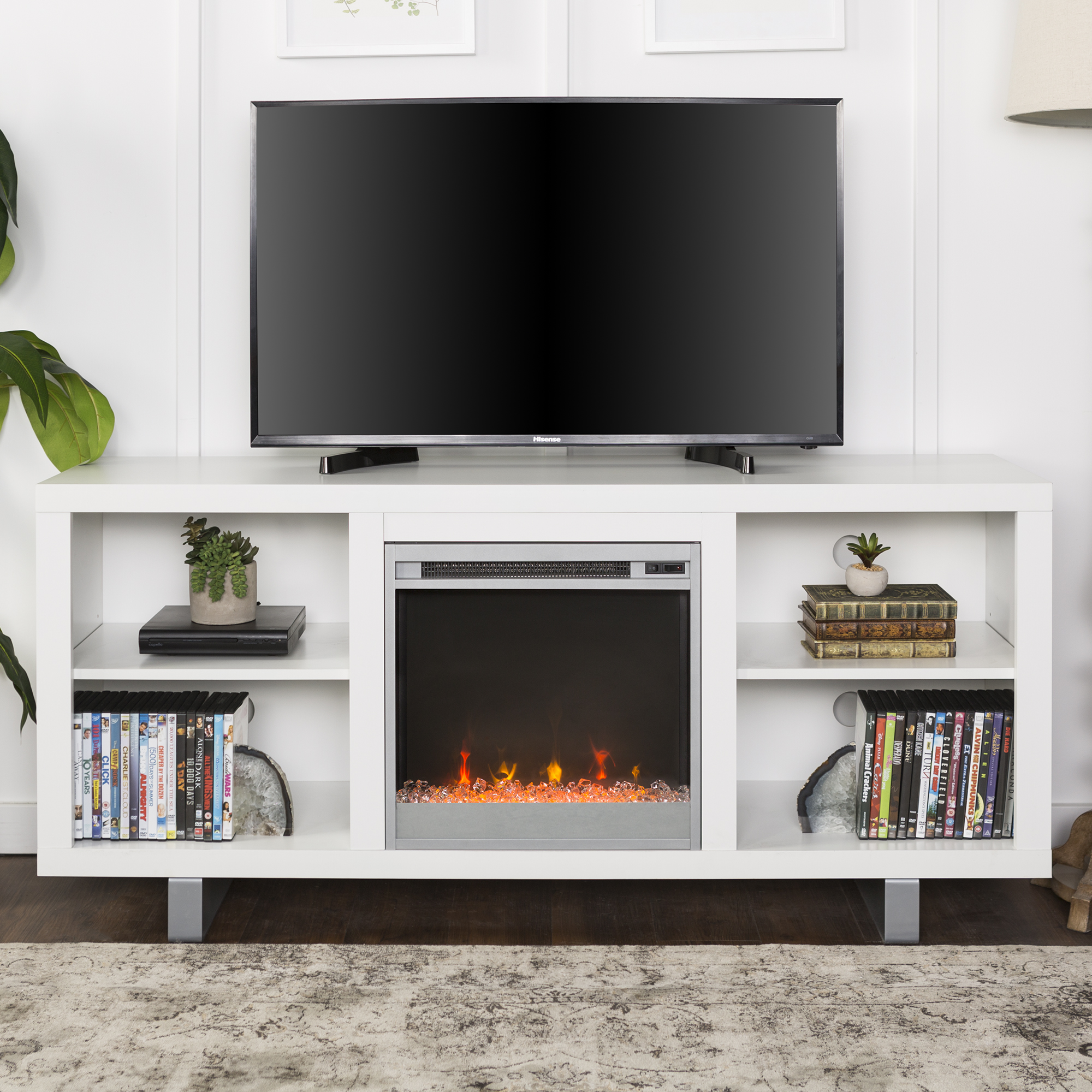 "58"" Modern Electric Fireplace TV Stand Media Console Entertainment Center - White"