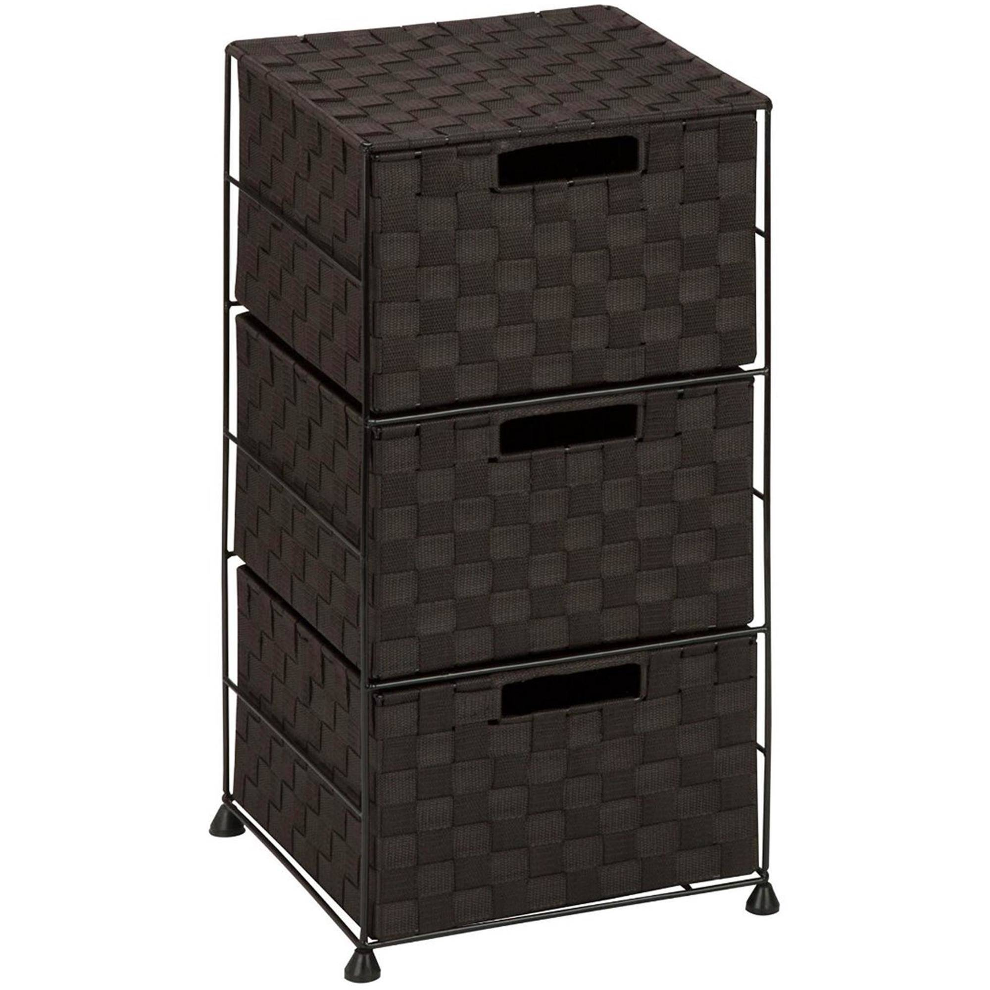Honey Can Do Steel Wire Rolling Cart with 3 Woven Fabric Drawers, Brown