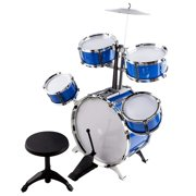 Classic Rhythm Toy Jazz Drum Set 6 Piece Kids Musical Instrument Playset With 5 Drums, Cymbal, Chair, Bass, Kick Pedal And Drumsticks A Perfect Beginner Gift For Toddlers And Small Children (Blue)