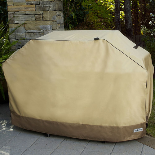 """Sure Fit 55"""" Small Two-Tone Grill Cover, Taupe/Olive"""