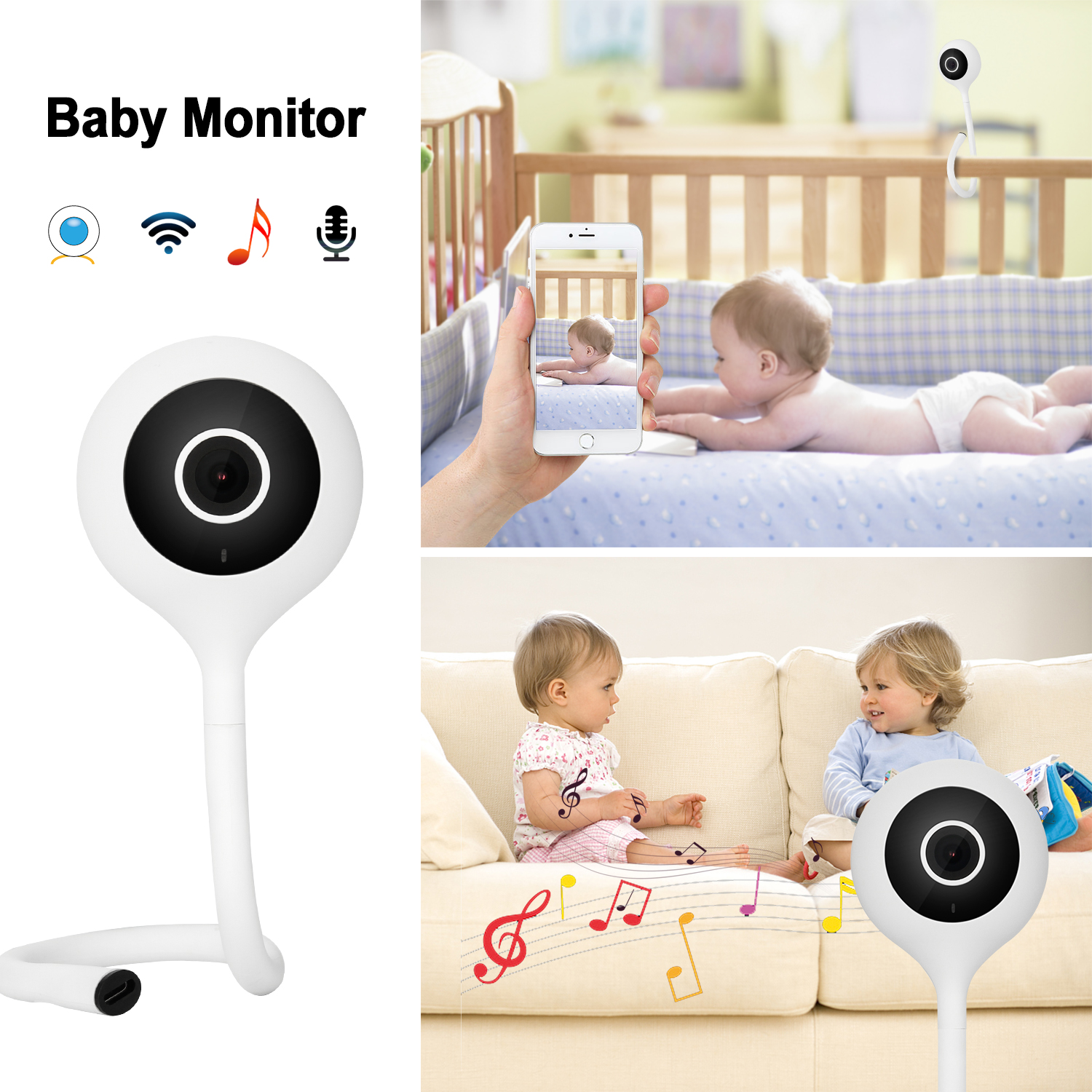 AGPtek Video Baby Monitor with WiFi for Home 2 Way Audio IR Night Vision  Music Player