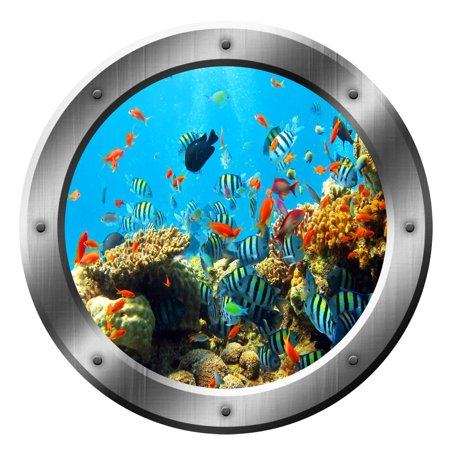 Fish Decal Set - VWAQ Coral Reef Wall Decal Porthole Ocean School Of Fish Wall Sticker Home Decor VWAQ-SP19 (20