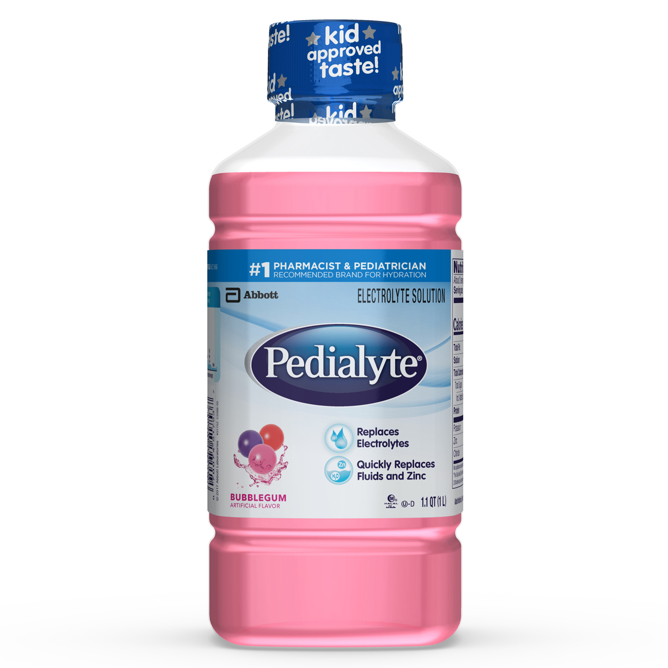 Pedialyte Electrolyte Solution, Hydration Drink, Bubble Gum, 1 Liter