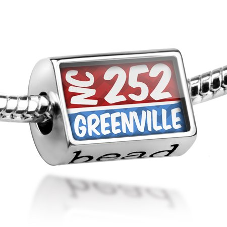 Bead 252 Greenville, NC red/blue Charm Fits All European Bracelets