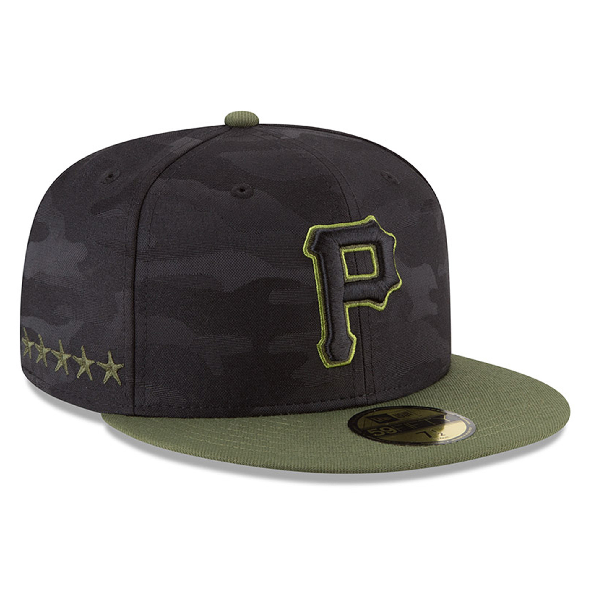 pittsburgh pirates new era 2018 memorial day on-field 59fifty fitted hat - black