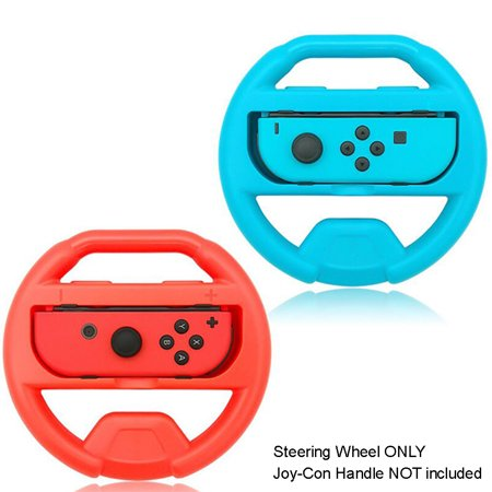 Nintendo Switch Controller Steering Wheel, TJS Steering Wheel For Nintendo Switch Controller (Set of 2) (Blue and Red) …