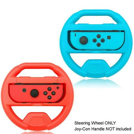 Nintendo Switch Controller Steering Wheel, TJS Steering Wheel For Nintendo Switch Controller (Set of 2) (Blue and Red) … (Steering Wheel Controller For Ps3)