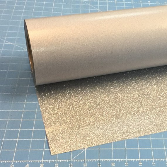 "Silver Siser Glitter 20"" x 10' (feet) Iron on Heat Transfer Vinyl Roll HTV"