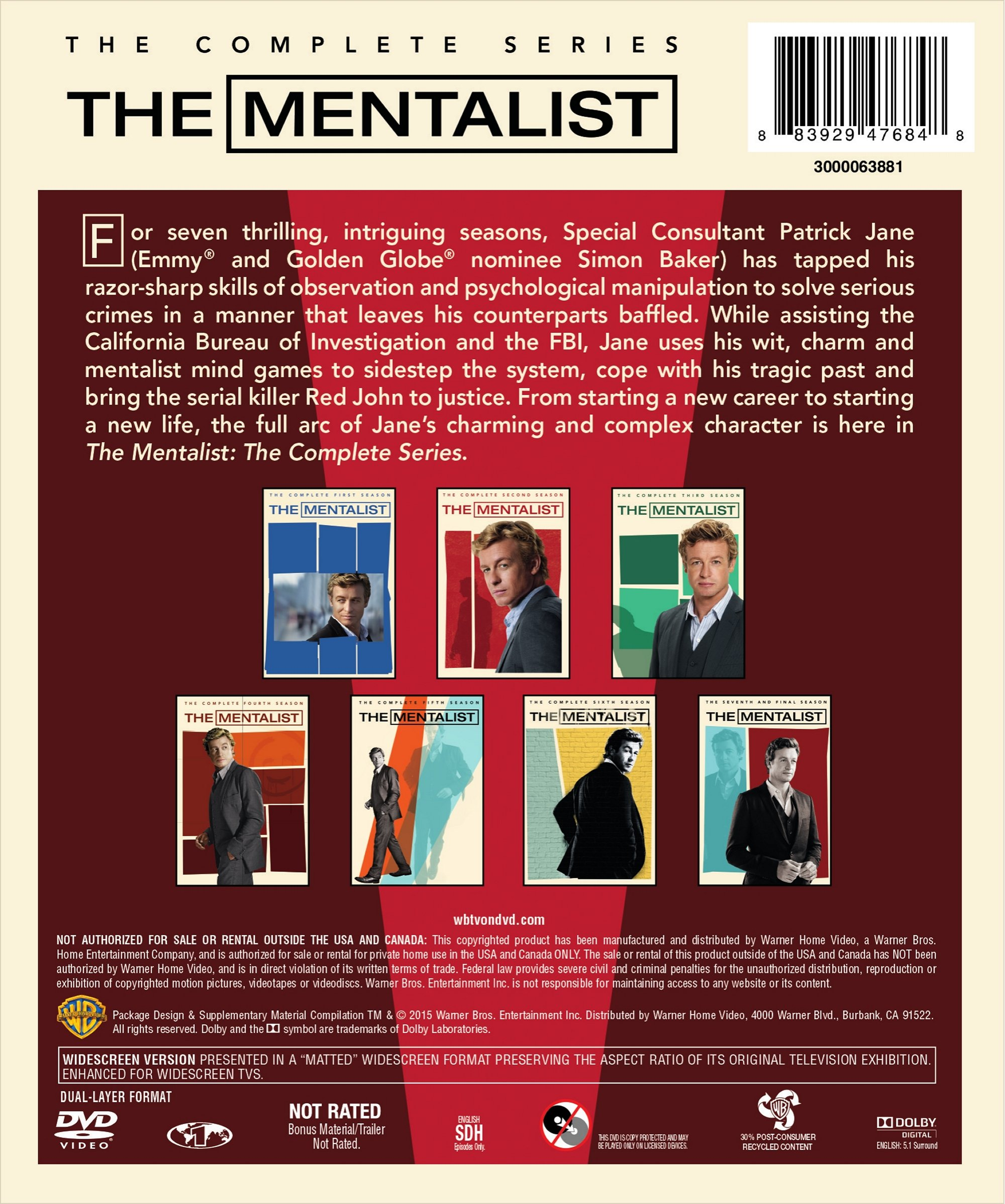 The Mentalist Complete Series Box Set (Season 1-7) (DVD)