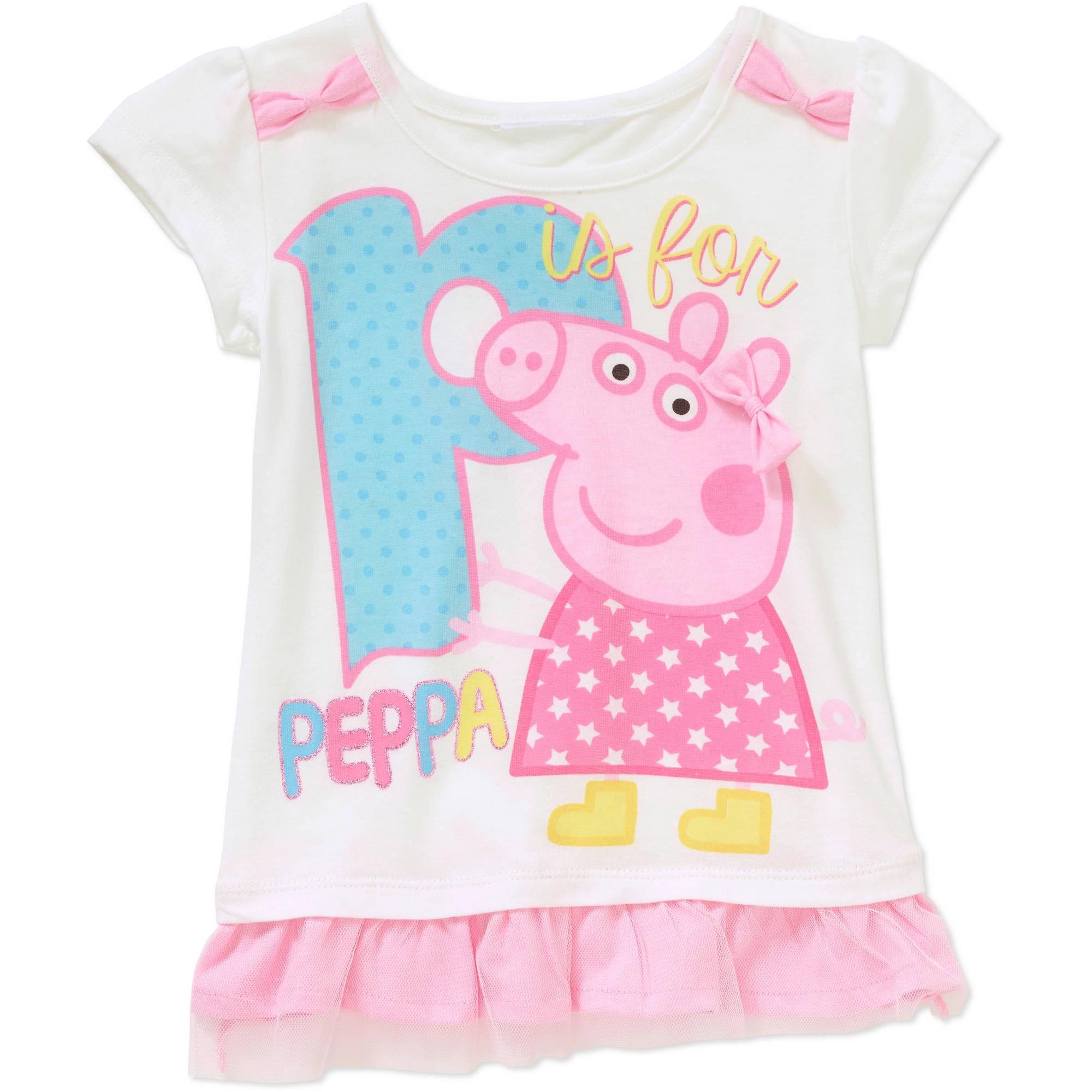 Peppa Pig Toddler Girls' Ruffled Bottom Graphic Tee Shirt
