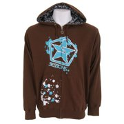 Sessions Stressed Zip Hoodie Dark Brown Mens