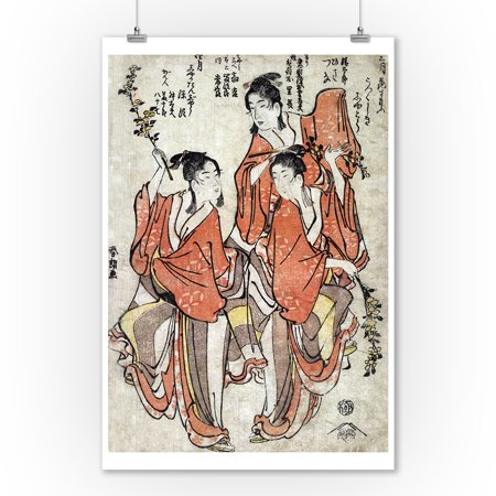 Third Month: Going to a Sumo Match; Fourth Month: Buddha's Birthday Japanese Wood-Cut Print (9x12 Art Print, Wall Decor Travel