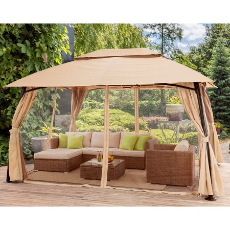 Barton 10' x 13' ft Patio Gazebo Garden Fully Enclosed Weather UV-Resistant with Mosquito Netting & Curtains -Beige