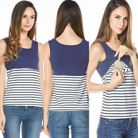 cc613b1448cdb Honganda - Stripe Summer Maternity T-shirt Nursing Top Women Breastfeeding  Clothes Tee Tank - Walmart.com