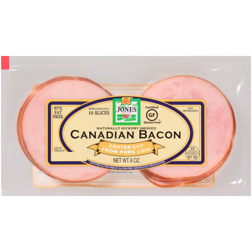 Jones Dairy Farm Natural Hickory Smoked Canadian Bacon, 6 oz