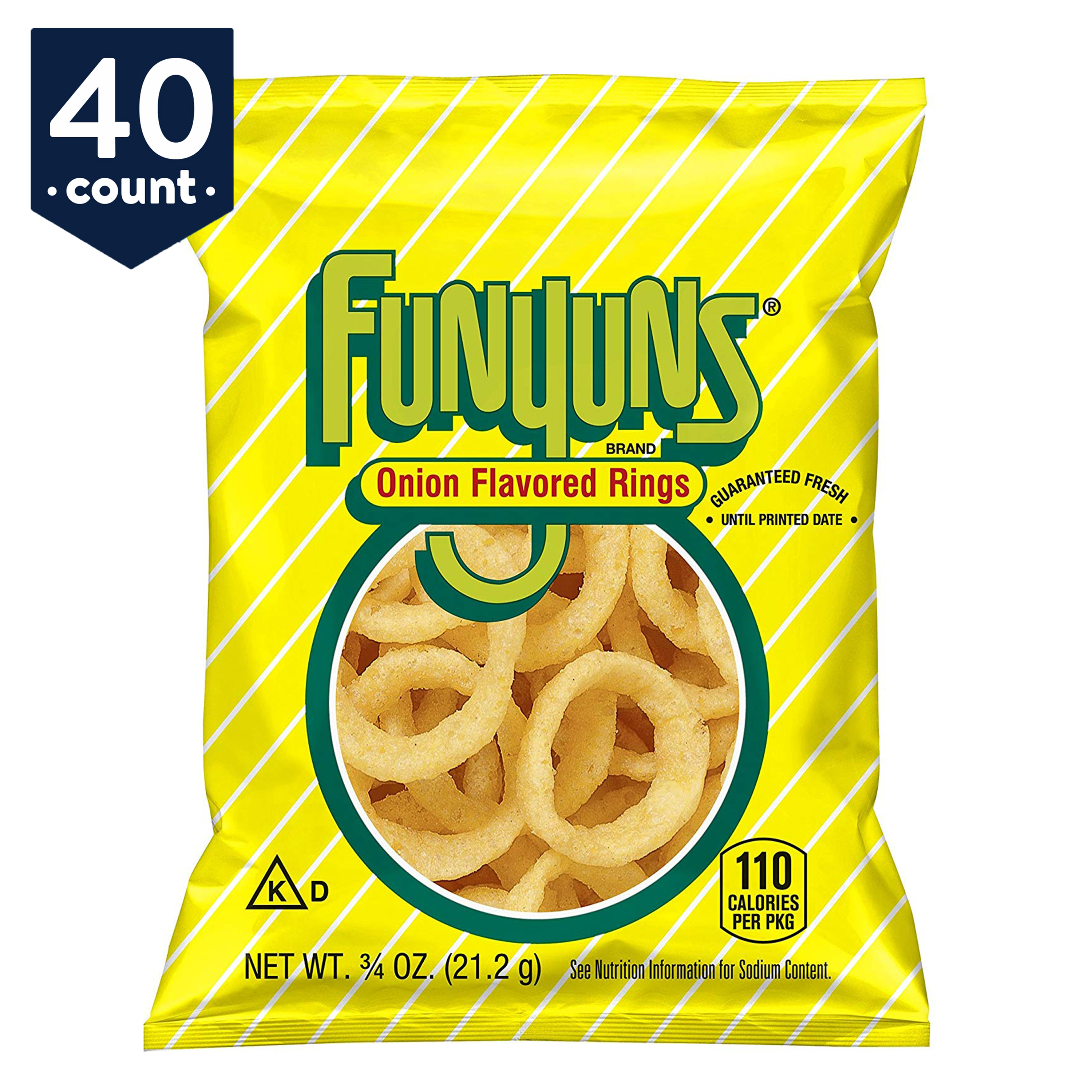 Funyuns Onion Flavored Rings Snack Pack, 0.75 oz Bags, 40 Count