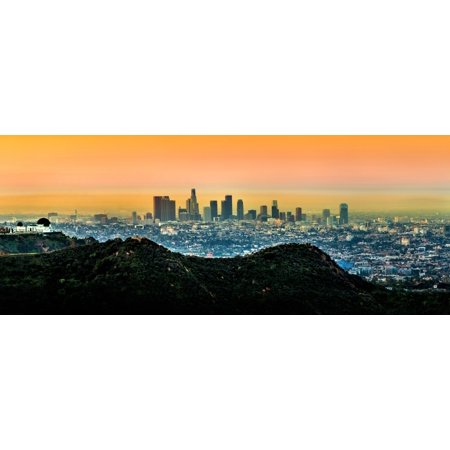 View of skylines at sunrise City Of Los Angeles Los Angeles County California USA Poster Print