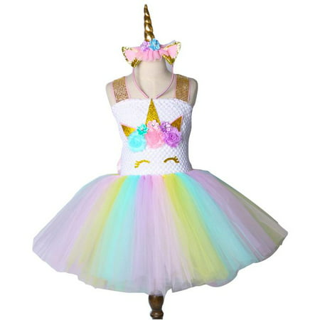 KABOER  Rainbow Unicorn Tutu Dress Girls Princess Halloween Costumes Outfits with Headband - Dressed As A Girl For Halloween