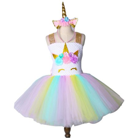 KABOER  Rainbow Unicorn Tutu Dress Girls Princess Halloween Costumes Outfits with Headband - Princess Peach Halloween Costume For Baby