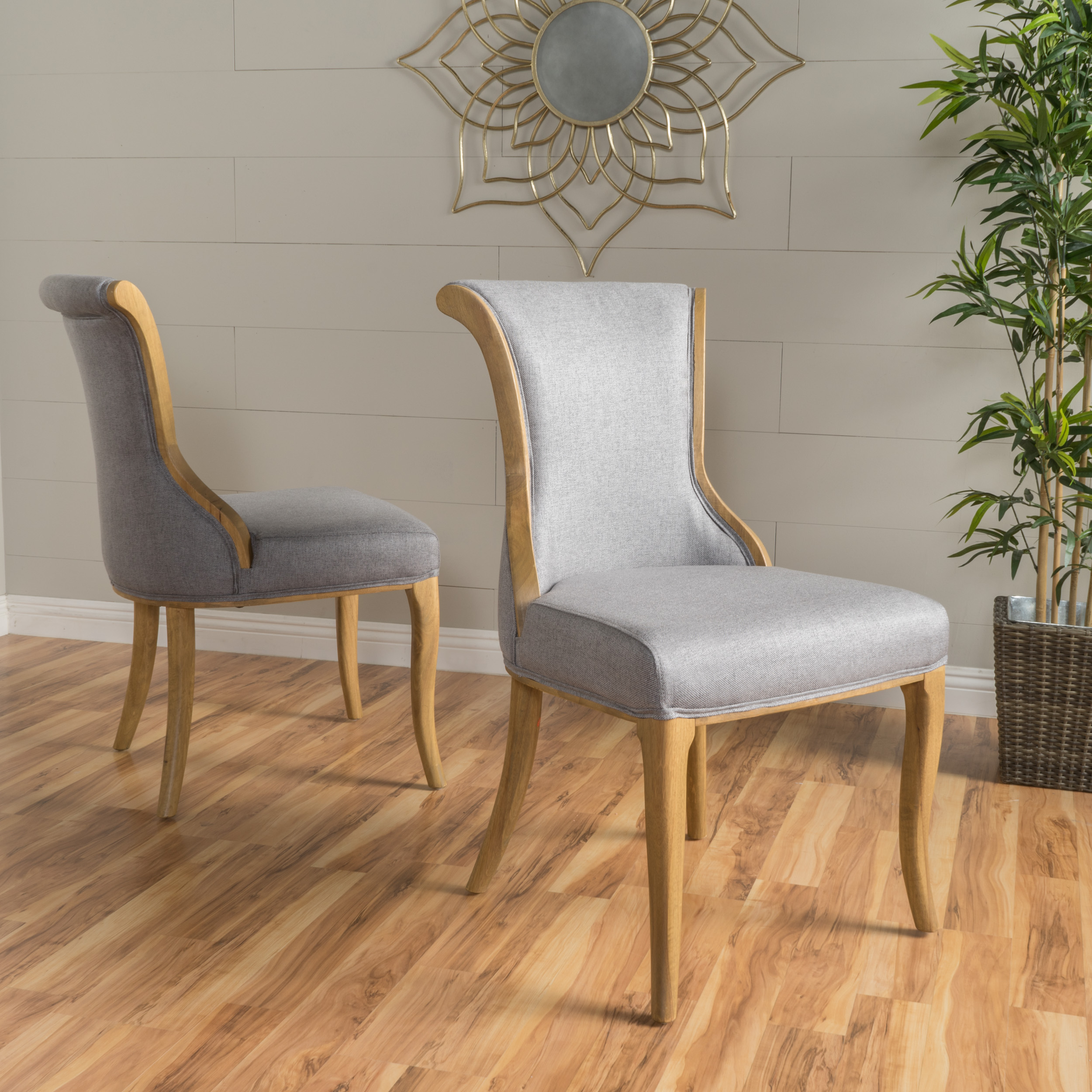 Noble House Francisco Grey Fabric Dining Chair (Set Of 2)