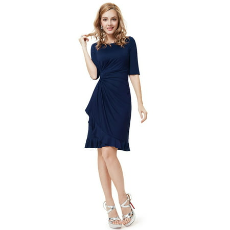 Ever-Pretty Womens Elegant Half Sleeve Ruffled Pleated Waist Stretchy Cocktail Clubwear Party Wear to Work Dresses for Women 03900 Navy Blue US 4