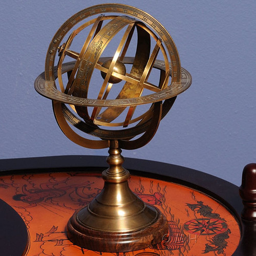 Old Modern Handicrafts Armillary Sphere on Wood Base by Old Modern Handicrafts