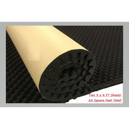24 Sq FT Foot Self Adhesive Acoustic Egg Foam Home Theater Recording Studio Car Audio Sound deadening Proofing Two 3 x 4 FT Sheet