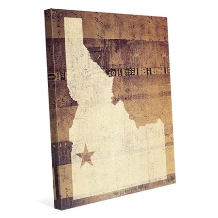 Click Wall Art Idaho Rustic Graphic Art On Wrapped Canvas