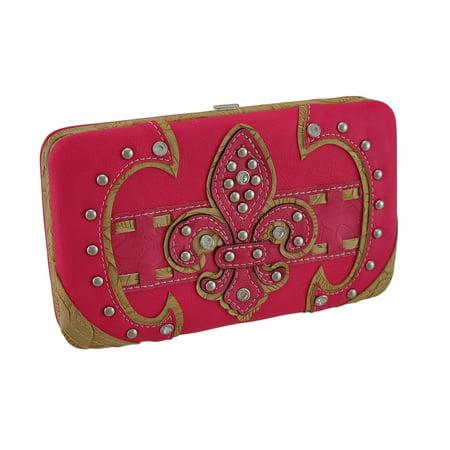 - Zeckos - Studded Embossed Rhinestone Fleur De Lis Vinyl Hard Case Wallet - Pink