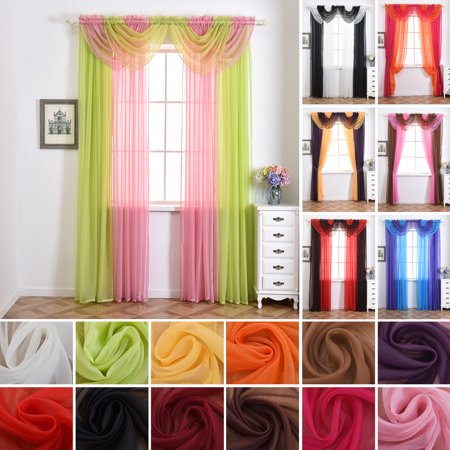 15 Color Plain Sheer Voile Net Door Window Curtains/Drape/Panel/Scarf/Valance Assorted Swag living room Bedroom Kitchen Patio Villa Parlor Sliding Door Curtain-Light Pink