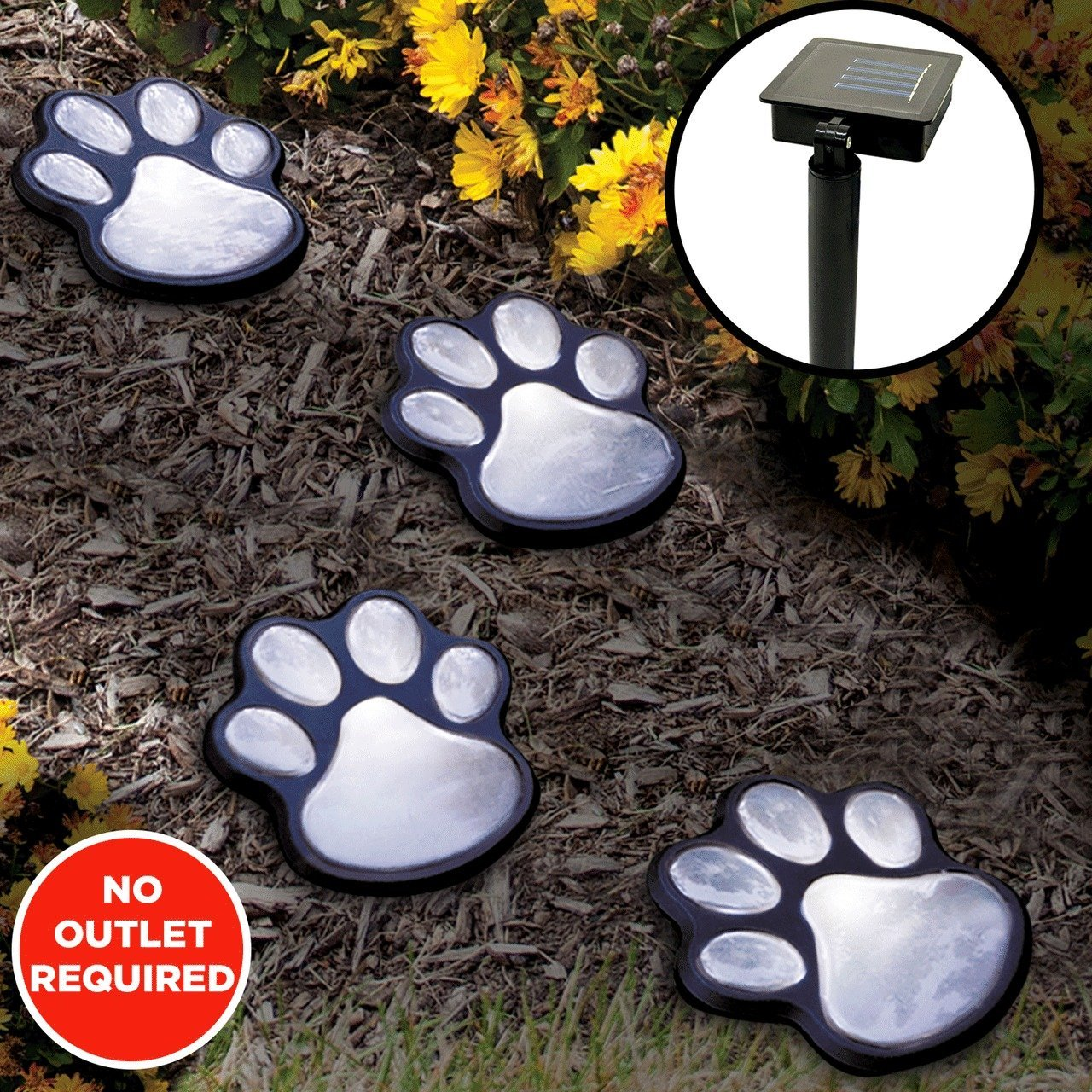 LED Solar Lights Garden Paw Animal Prints Outdoor Lamp Lantern Path Landscape by