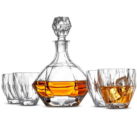 Arabesque Clear Crystal Gift - Crystal Whiskey Decanter Set - High-End 5-Piece Whiskey Decanter Set, Weighted Bottom European Design 12 oz whiskey Glasses 100% Lead Free Crystal Clear For Scotch Liquor Bourbon Etc. with Gift Box