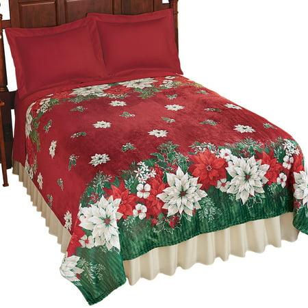 poinsettia fleece christmas bedding throw blanket king multi walmartcom