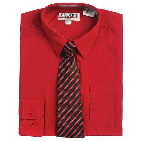 Red Button Up Dress Shirt Black Striped Tie Set Toddler Boys - Boy Dress Up As A Girl