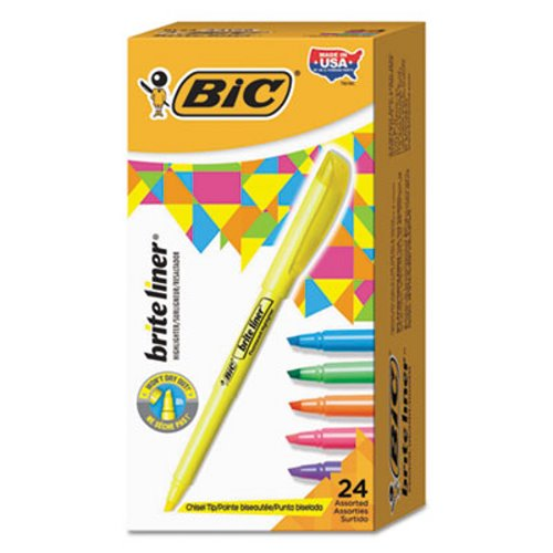 Bic Brite Liner Highlighter, Chisel Tip, Assorted Ink, 24 per Set (BICBL241AST)