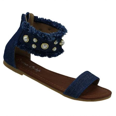 Denim - Jkenda Girls Sandals Gladiator Flip Flops Open toe Shoes Flats Beach Shoes Denim 4