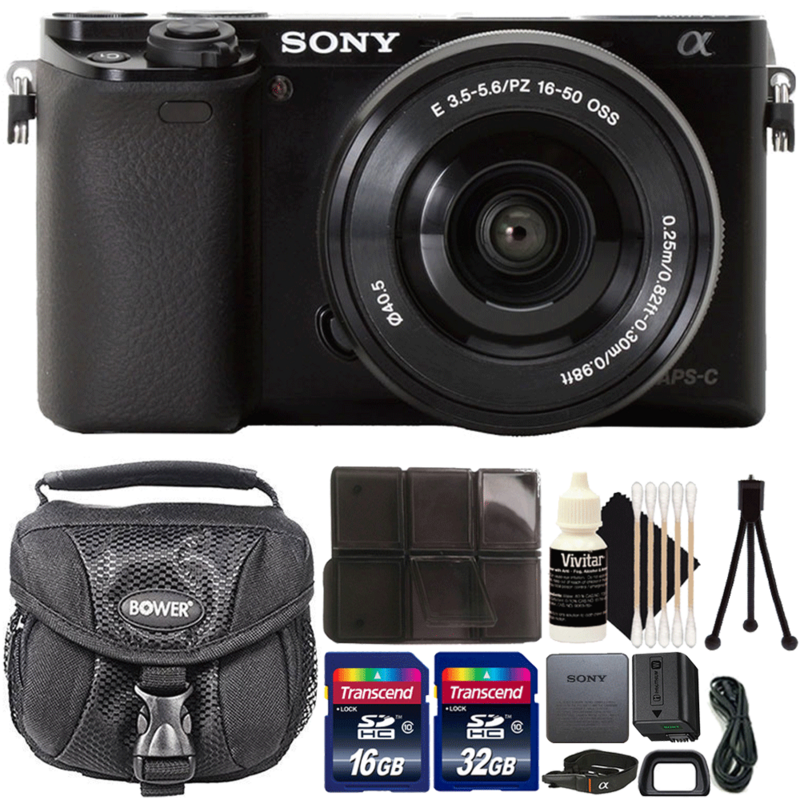 Sony Alpha A6000 Wi-Fi Digital Camera Black with 16-50mm Lens and Complete Accessory Kit