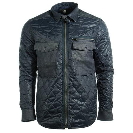 G Star Type C Denim Quilted Slim Overshirt Jacket Zip Up Shirt