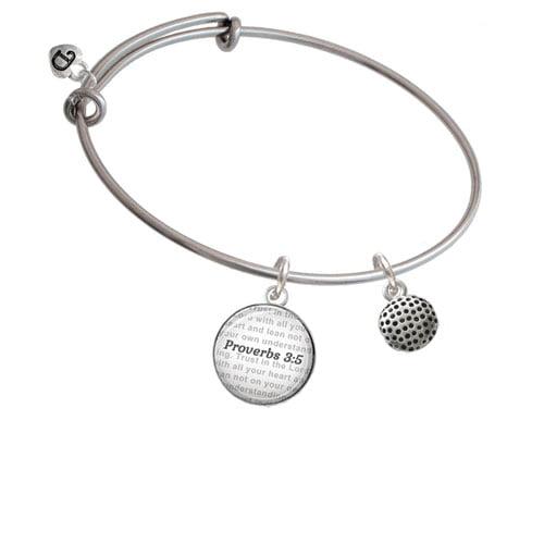 Golf Ball - Bible Verse Proverbs 3:5 Glass Dome Bangle Bracelet