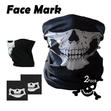 Skull Face Mask Half for Women Men Dust Wind UV Sun Protection Bandana Face Mask for Rave Festival Motorcycle Riding Biker Fishing Hunting Outdoor Running Mask Multifunctional Headwear