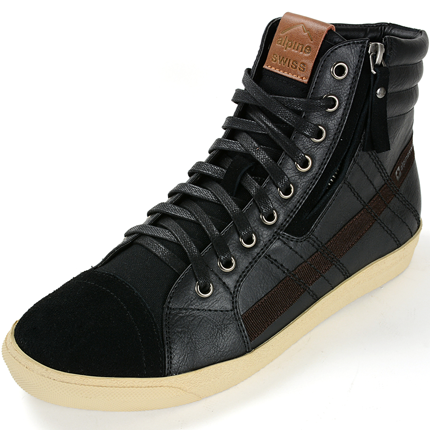 Alpine Swiss Reto Mens High Top Sneakers Lace Up & Zip Ankle Boots Fashion Shoes